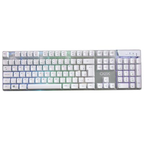 Teclado Gamer USB Prismatic LED TC205 Branco OEX